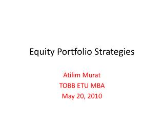 Equity Portfolio Strategies