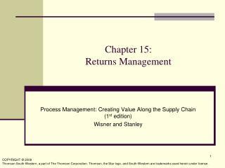 Chapter 15:  Returns Management