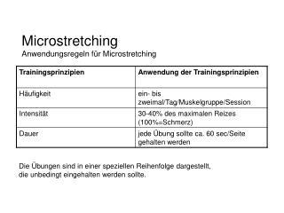 Microstretching Anwendungsregeln f�r Microstretching