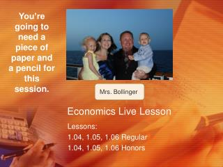 Economics Live Lesson