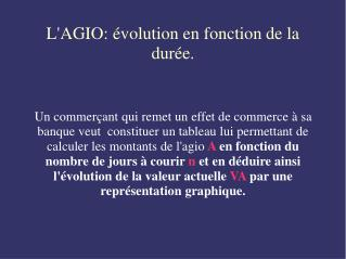 L'AGIO: évolution en fonction de la durée.
