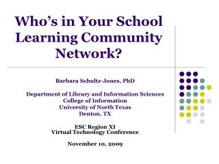 Who's in Your School Learning Community Network?
