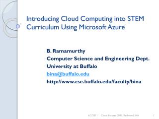 Introducing Cloud Computing into STEM Curriculum Using Microsoft Azure