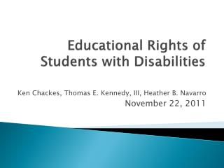 Educational Rights of Students with Disabilities