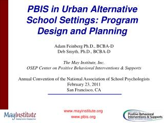 PBIS in Urban Alternative School Settings: Program Design and Planning