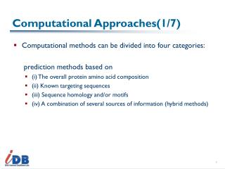 Computational Approaches(1/7)
