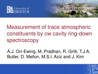 Measurement of trace atmospheric constituents by cw cavity ring-down spectroscopy