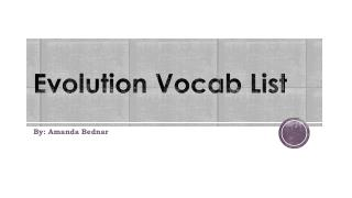 Evolution Vocab List