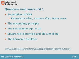 Quantum mechanics unit 1