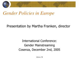 Gender Policies in Europe