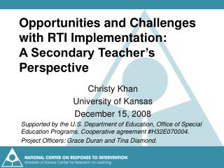 Opportunities and Challenges with RTI Implementation:  A Secondary Teacher's Perspective