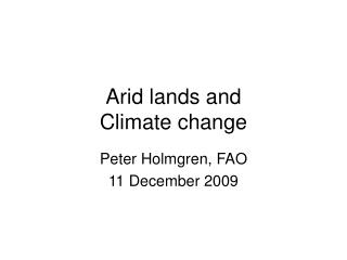 Arid lands and  Climate change
