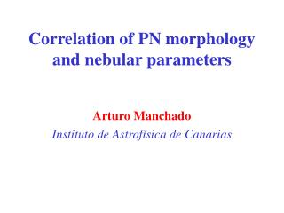 Correlation of PN morphology and nebular parameters