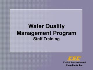 Water Quality  Management Program Staff Training