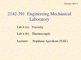 2142-391  Engineering Mechanical Laboratory