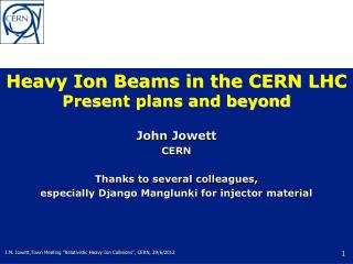 Heavy Ion Beams in the CERN LHC Present plans and beyond