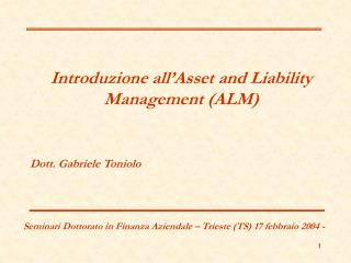 Introduzione all�Asset and Liability Management (ALM)