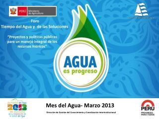 Mes del Agua- Marzo 2013