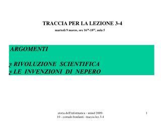 TRACCIA PER LA LEZIONE 3-4
