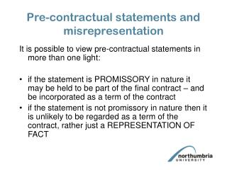 Pre-contractual statements and misrepresentation
