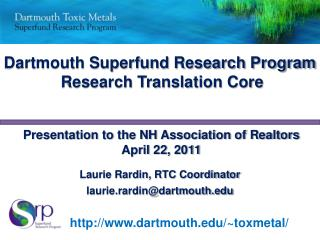 Dartmouth Superfund Research Program  Research Translation Core