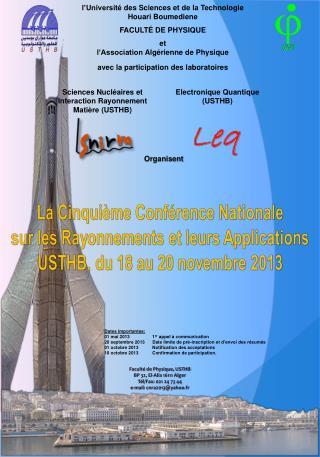 La Cinquième Conférence  Nationale sur les Rayonnements et leurs Applications