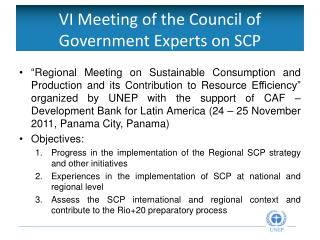 VI  Meeting of the Council of Government Experts on SCP