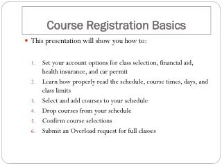 Course Registration Basics