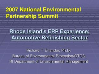 Rhode Island's ERP Experience: Automotive Refinishing Sector