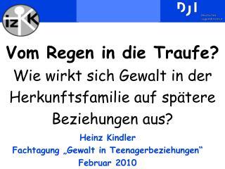 """Heinz Kindler Fachtagung """"Gewalt in Teenagerbeziehungen"""" Februar 2010"""