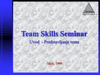 Team Skills Seminar Uvod  - Predstavljanje tema
