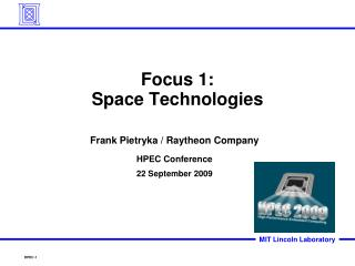 Focus 1: Space Technologies