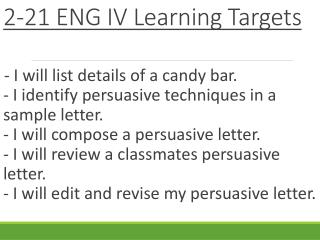 2-21 ENG IV Learning Targets
