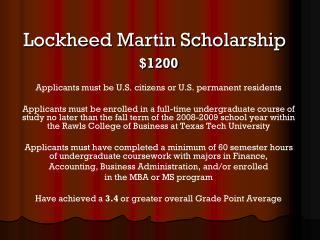 Lockheed Martin Scholarship