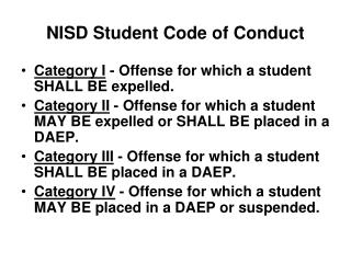 NISD Student Code of Conduct