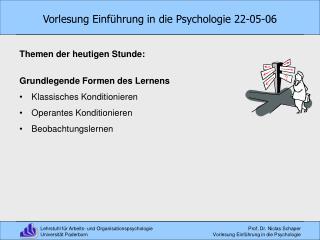 Vorlesung Einführung in die Psychologie 22-05-06