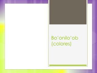 Bo'onilo'ob (colores)