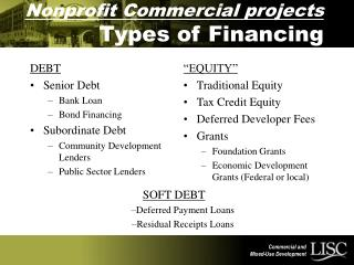 Nonprofit Commercial projects Types of Financing