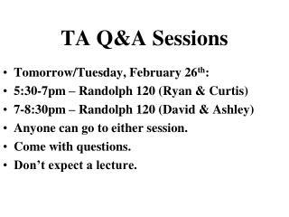 TA Q&A Sessions