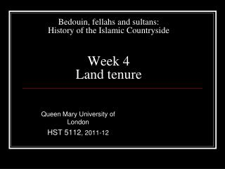 Bedouin, fellahs and sultans: History of the Islamic Countryside Week 4 Land tenure