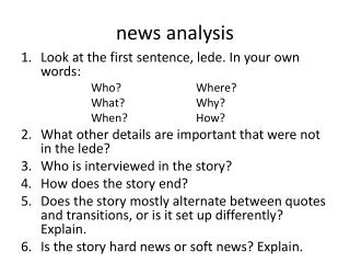 n ews analysis