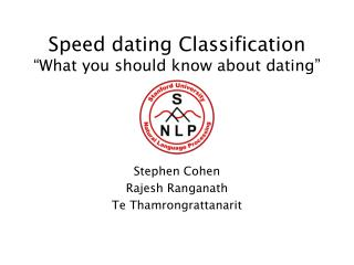 "Speed dating Classification ""What you should know about dating"""
