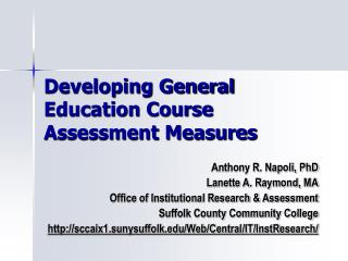 Developing General Education Course Assessment Measures