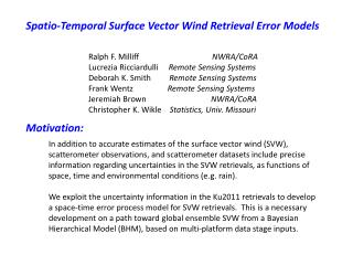 Spatio -Temporal Surface Vector Wind Retrieval Error Models