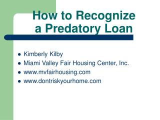 How to Recognize  a Predatory Loan