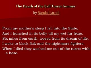 The Death of the Ball Turret Gunner   by  Randall Jarrell