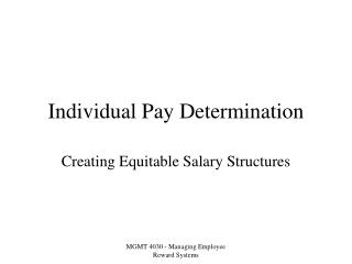 Individual Pay Determination