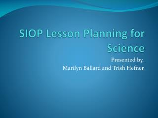 SIOP Lesson Planning for Science