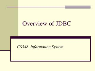 Overview of JDBC