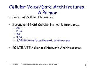 Cellular Voice/Data Architectures: A Primer